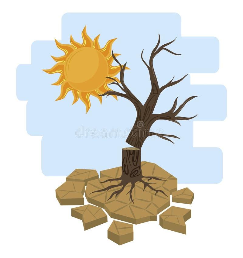 Νεκροί δέντρο και ήλιος διανυσματική απεικόνιση