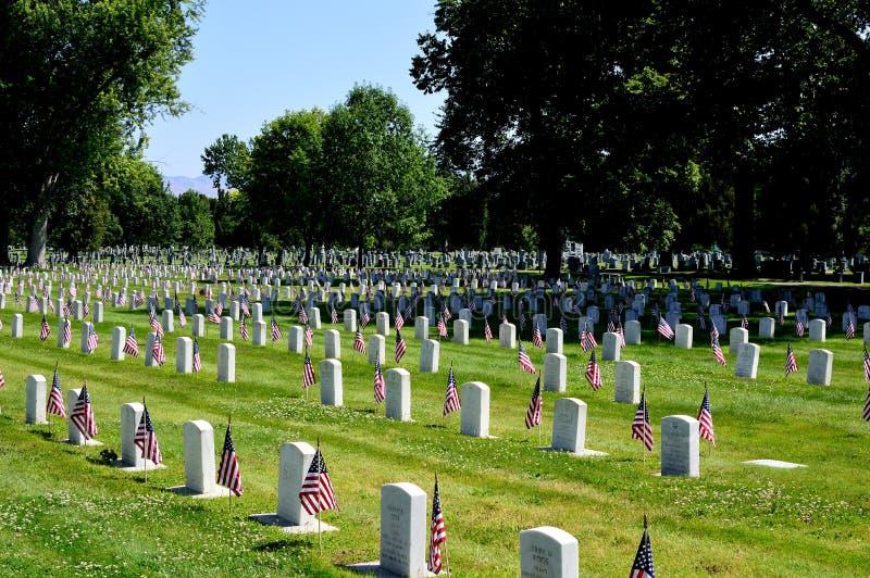 Νεκροταφείο ημέρας παλαιμάχου με τις σημαίες στοκ φωτογραφία με δικαίωμα ελεύθερης χρήσης