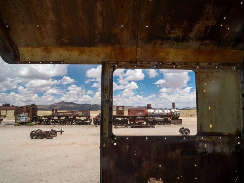 Νεκροταφείο τραίνων σε Uyuni, βολιβιανά στοκ εικόνες με δικαίωμα ελεύθερης χρήσης