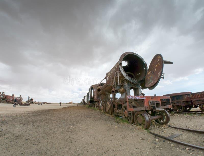 Νεκροταφείο τραίνων σε Uyuni, βολιβιανά στοκ εικόνες