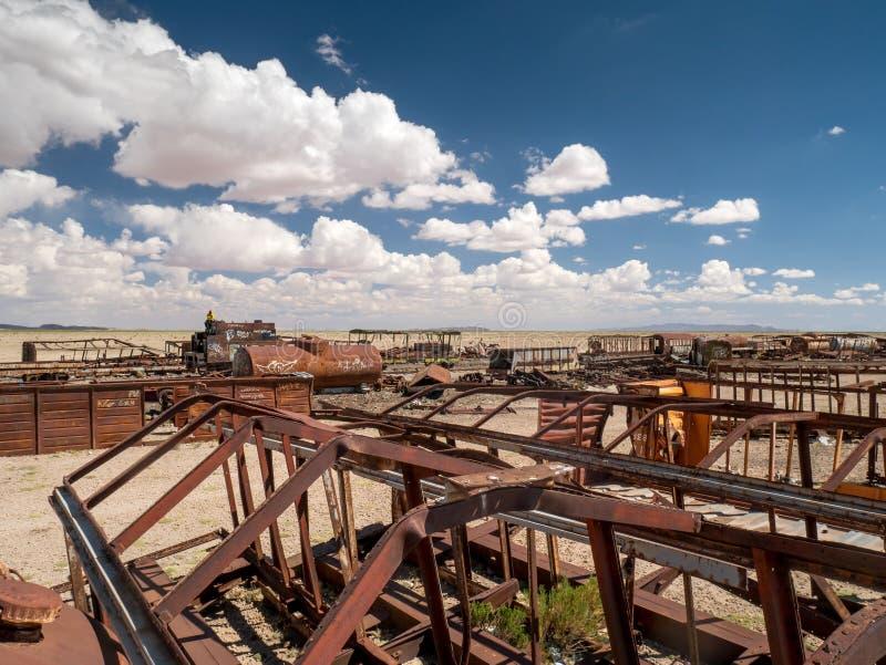 Νεκροταφείο τραίνων σε Uyuni, βολιβιανά στοκ φωτογραφίες με δικαίωμα ελεύθερης χρήσης