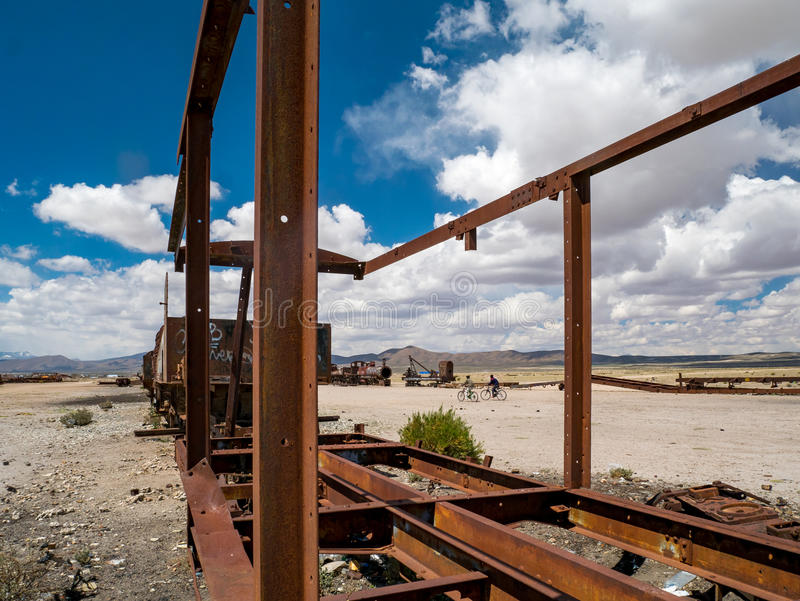 Νεκροταφείο τραίνων σε Uyuni, βολιβιανά στοκ φωτογραφία με δικαίωμα ελεύθερης χρήσης