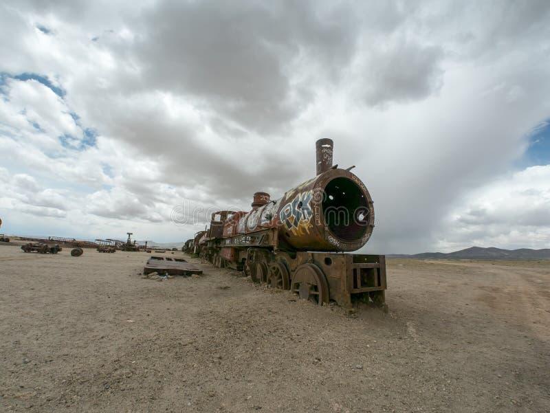 Νεκροταφείο τραίνων σε Uyuni, βολιβιανά στοκ φωτογραφίες