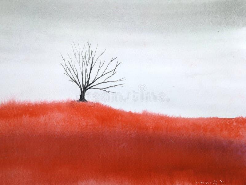 Νεκρό δέντρο τοπίων Watercolor στον κόκκινο τομέα λιβαδιών διανυσματική απεικόνιση