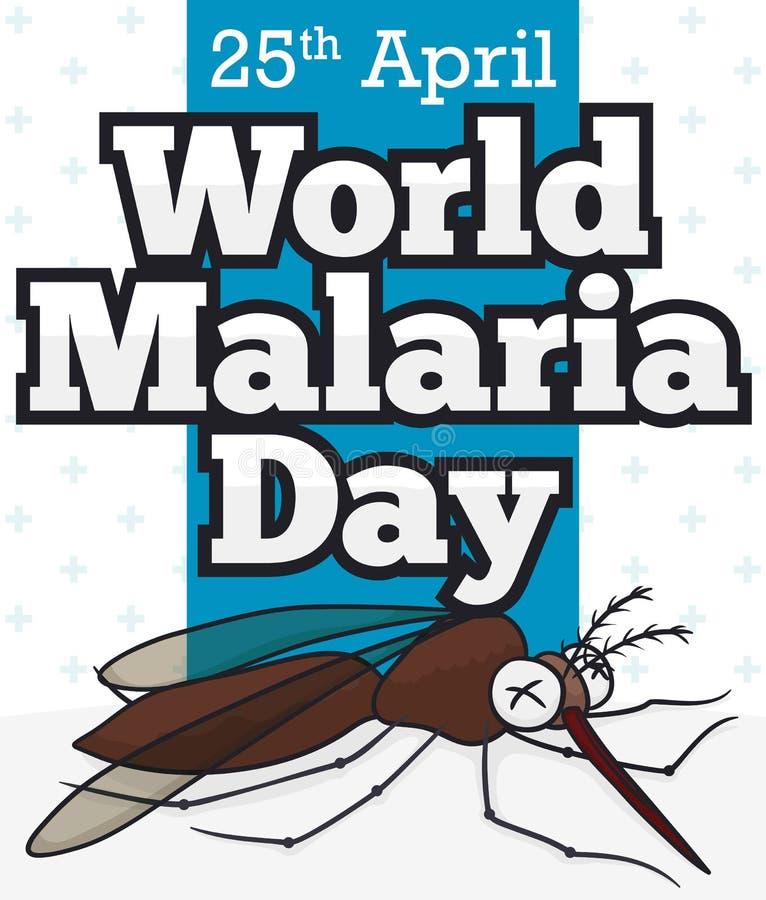 Νεκρό κουνούπι στο ύφος κινούμενων σχεδίων για την ημέρα παγκόσμιας ελονοσίας, διανυσματική απεικόνιση απεικόνιση αποθεμάτων