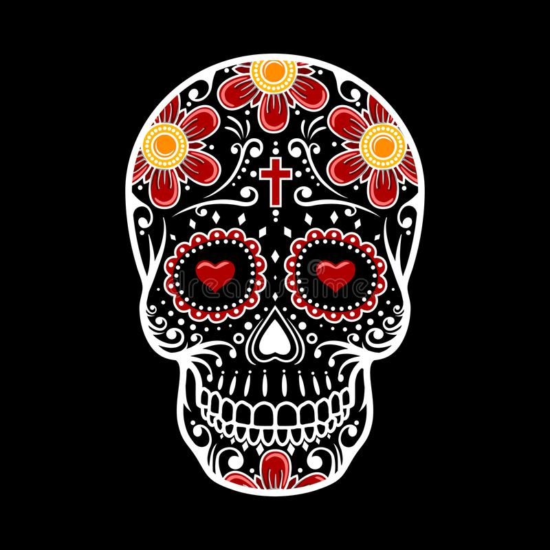 νεκρό κρανίο ημέρας Λουλούδι ζάχαρης κρανίων ελεύθερη απεικόνιση δικαιώματος