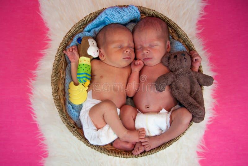 Νεογέννητοι ύπνοι παιδιών διδύμων στοκ φωτογραφίες με δικαίωμα ελεύθερης χρήσης