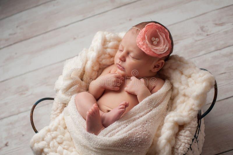 Νεογέννητο κοριτσάκι που φορά Headband λουλουδιών στοκ εικόνες