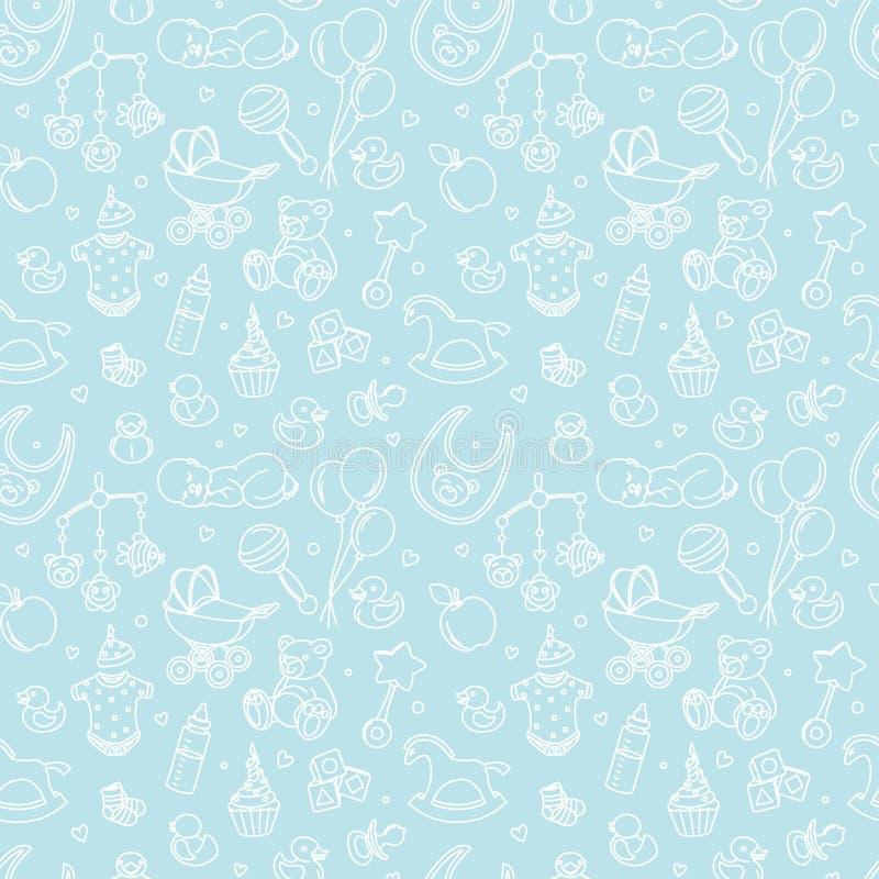 Νεογέννητο μωρών κόμμα εορτασμού γενεθλίων κοριτσιών αγοριών σχεδίων ντους άνευ ραφής απεικόνιση αποθεμάτων