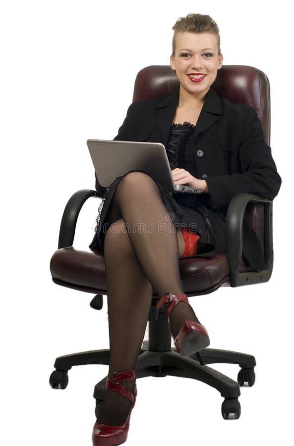 νεολαίες γυναικών lap-top στοκ φωτογραφία με δικαίωμα ελεύθερης χρήσης