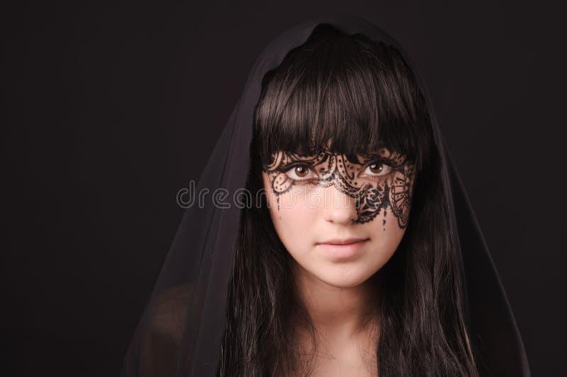 νεολαίες γυναικών tracery προσώπου ομορφιάς στοκ εικόνα με δικαίωμα ελεύθερης χρήσης