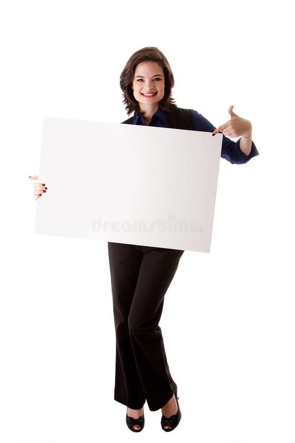 νεολαίες επιχειρησιακών λευκών γυναικών χαρτονιών στοκ φωτογραφία
