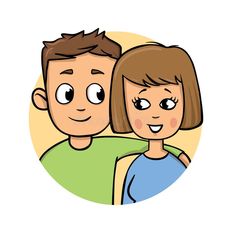 νεολαίες ζευγών Αγόρι που στηρίζεται το χέρι του στον ώμο κοριτσιών ` s Επίπεδο εικονίδιο σχεδίου Ζωηρόχρωμη επίπεδη διανυσματική ελεύθερη απεικόνιση δικαιώματος