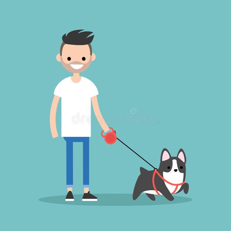 Νεολαίες που χαμογελούν το γενειοφόρο άτομο που περπατά το σκυλί/το οριζόντια editable διάνυσμα διανυσματική απεικόνιση