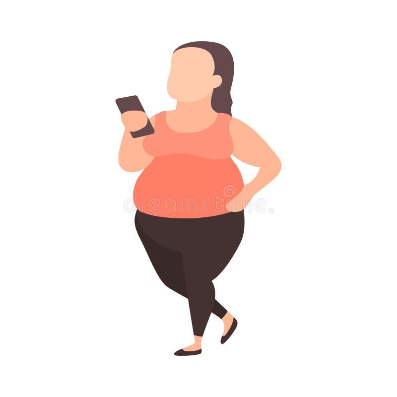 Νεολαίες συν το κορίτσι μεγέθους με το smartphone Υπερβολικό βάρος πάλης εφήβων Παχύ κορίτσι sportswear Εφηβικά προβλήματα βάρους ελεύθερη απεικόνιση δικαιώματος