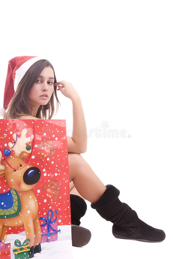 νεολαίες santa κοριτσιών στοκ εικόνες με δικαίωμα ελεύθερης χρήσης