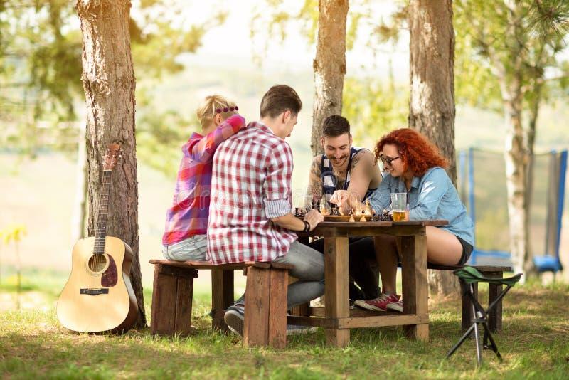 Νεολαία που έχει το σκάκι παιχνιδιού διασκέδασης στο ξύλο στοκ εικόνες