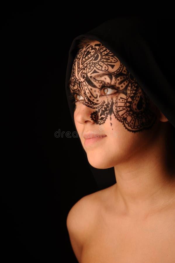 νεολαίες γυναικών tracery προσώπου ομορφιάς στοκ εικόνες με δικαίωμα ελεύθερης χρήσης