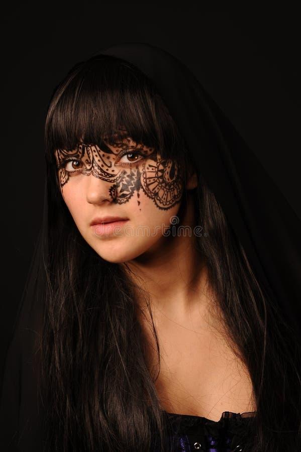 νεολαίες γυναικών tracery προσώπου ομορφιάς στοκ εικόνα