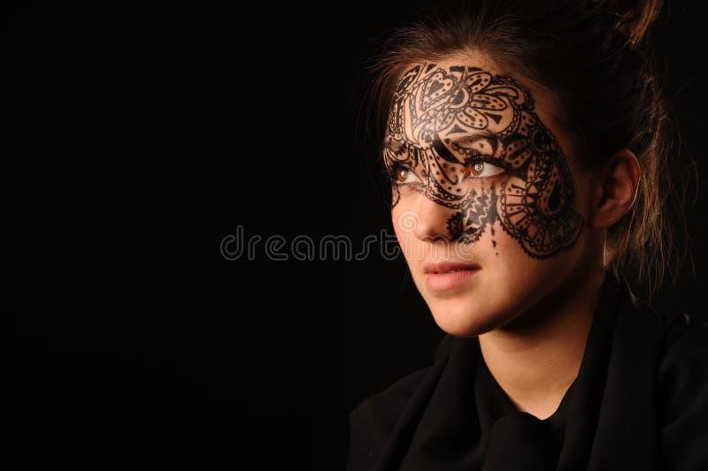νεολαίες γυναικών tracery προσώπου ομορφιάς στοκ φωτογραφίες