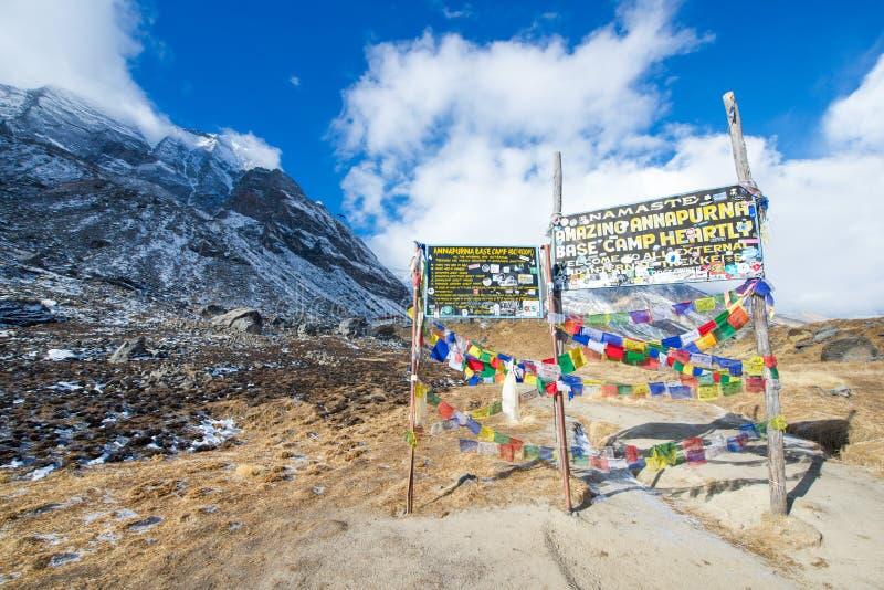 Νεπάλ στις 31 Δεκεμβρίου 2016:: υποδοχή borad στο στρατόπεδο βάσεων Annapurna στοκ εικόνες