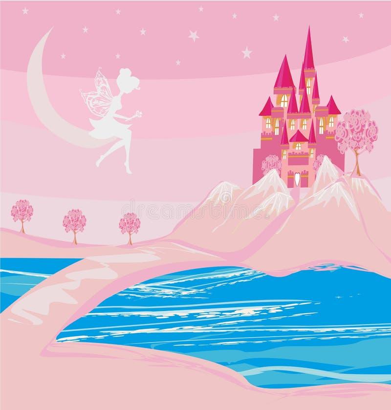 Νεράιδα και ένα μεσαιωνικό κάστρο σε ένα μαγικό έδαφος απεικόνιση αποθεμάτων