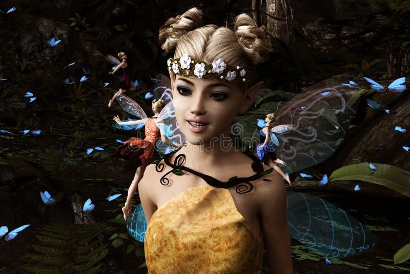 Νεράιδες που πετούν στο μαγικό δάσος διανυσματική απεικόνιση