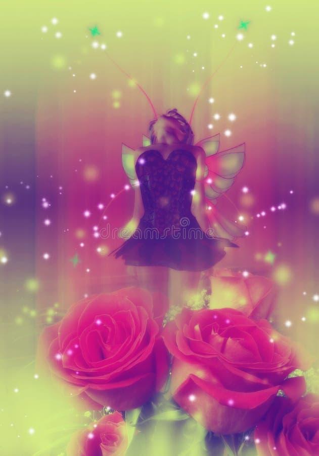 Νεράιδα με τα τριαντάφυλλα διανυσματική απεικόνιση