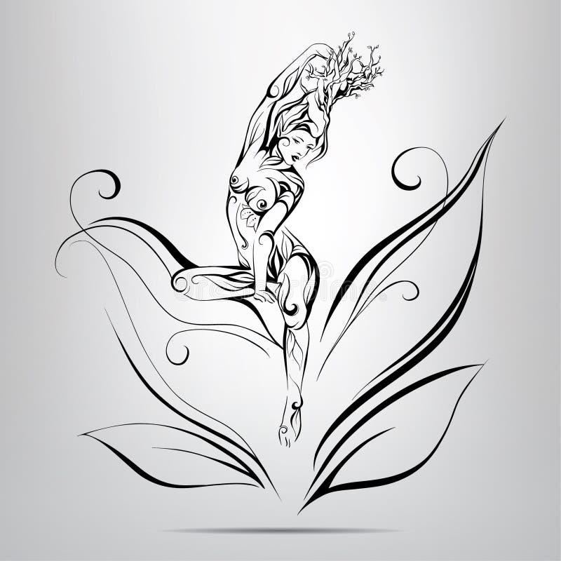 Νεράιδα με τη μυθική τρίχα των κλαδίσκων.  απεικόνιση απεικόνιση αποθεμάτων
