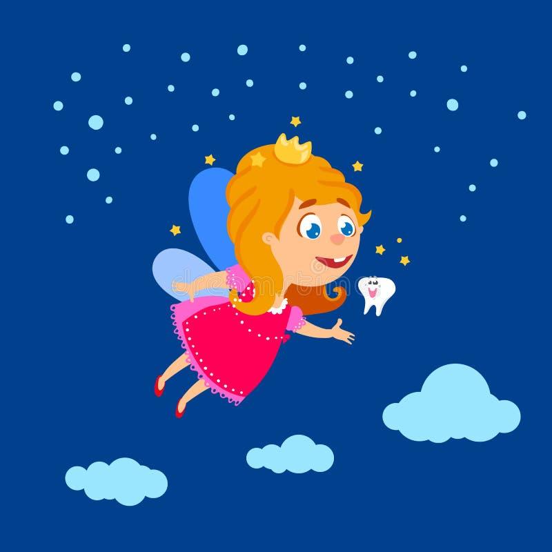 Νεράιδα δοντιών που πετά τη νύχτα τον ουρανό διανυσματική απεικόνιση