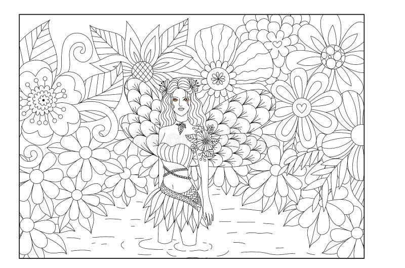 Νεράιδα στο σχέδιο τέχνης γραμμών λιμνών για το χρωματισμό του βιβλίου για τον ενήλικο ελεύθερη απεικόνιση δικαιώματος