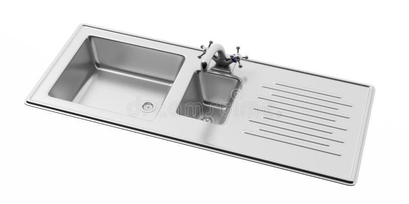 Νεροχύτης κουζινών ανοξείδωτου και κρουνός που απομονώνονται στο άσπρο υπόβαθρο, άποψη άνωθεν ελεύθερη απεικόνιση δικαιώματος