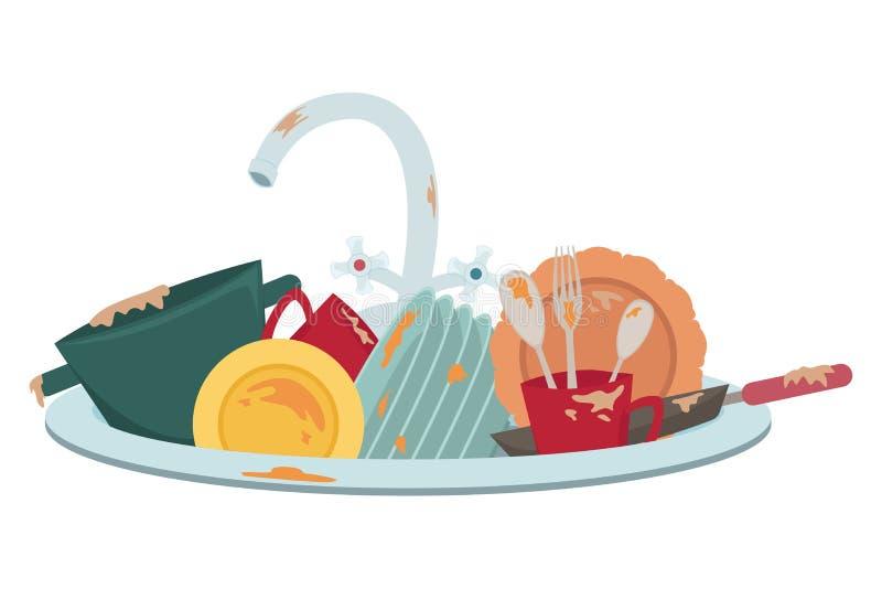 Νεροχύτης κουζινών με τα βρώμικα πιάτα Οικιακά o διανυσματική απεικόνιση