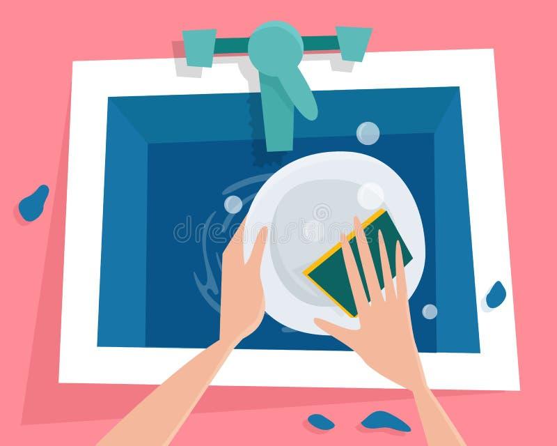 Νεροχύτης κουζινών με το νερό Τα χέρια πλένουν το πιάτο ελεύθερη απεικόνιση δικαιώματος