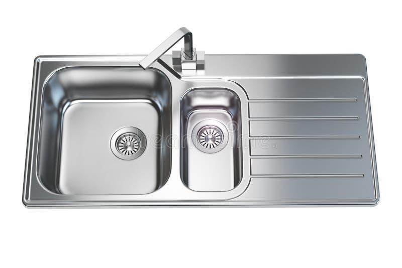 Νεροχύτης κουζινών που απομονώνεται στο άσπρο υπόβαθρο απεικόνιση αποθεμάτων