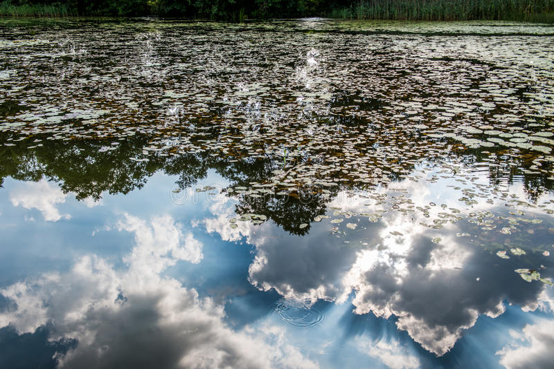 νερό λιμνών με τα σύννεφα στοκ εικόνες με δικαίωμα ελεύθερης χρήσης