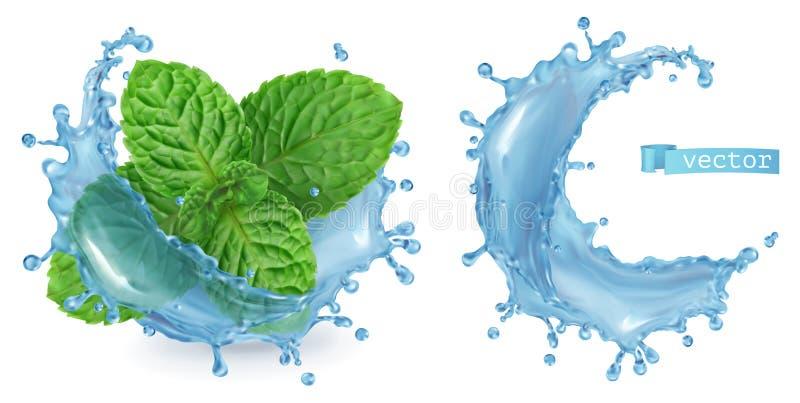 Νερό και μέντα παφλασμών τρισδιάστατο διάνυσμα ελεύθερη απεικόνιση δικαιώματος