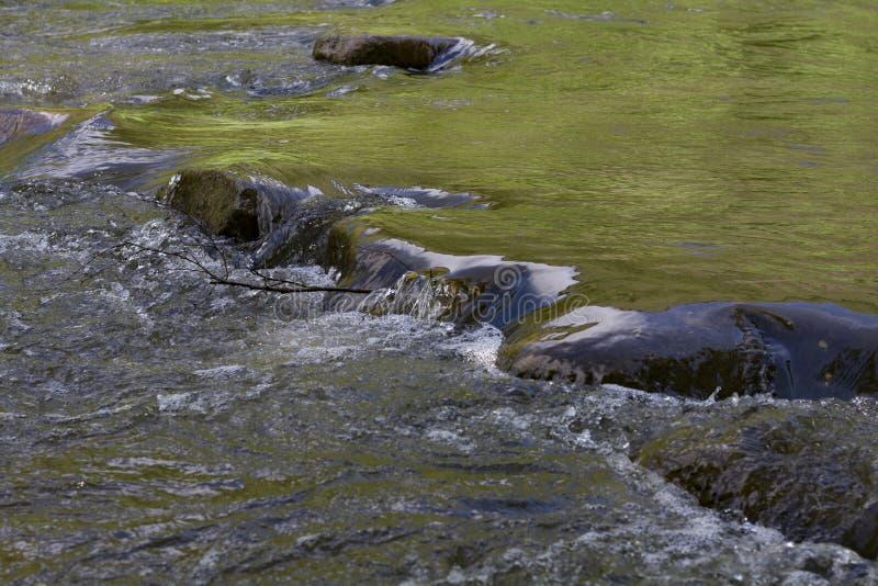 Νερό με τα ορμητικά σημεία ποταμού Ροές του νερού μέσω των πετρών στοκ εικόνες