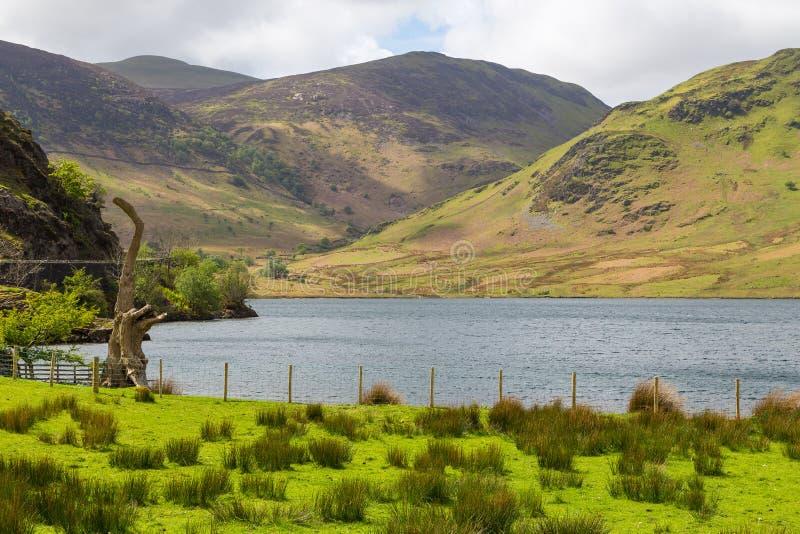 Νερό Crummock και θέα βουνού, περιοχή λιμνών εθνική, Cumbria στοκ εικόνα