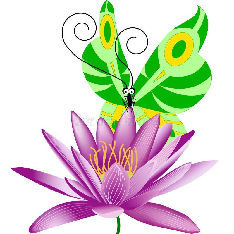 Νερό Lili και πεταλούδα ελεύθερη απεικόνιση δικαιώματος