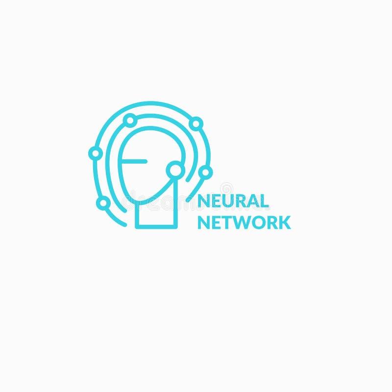 Νευρικά δίκτυα, εννοιολογικά σημάδι και λογότυπο Το αναλυτικό σύστημα ελεύθερη απεικόνιση δικαιώματος