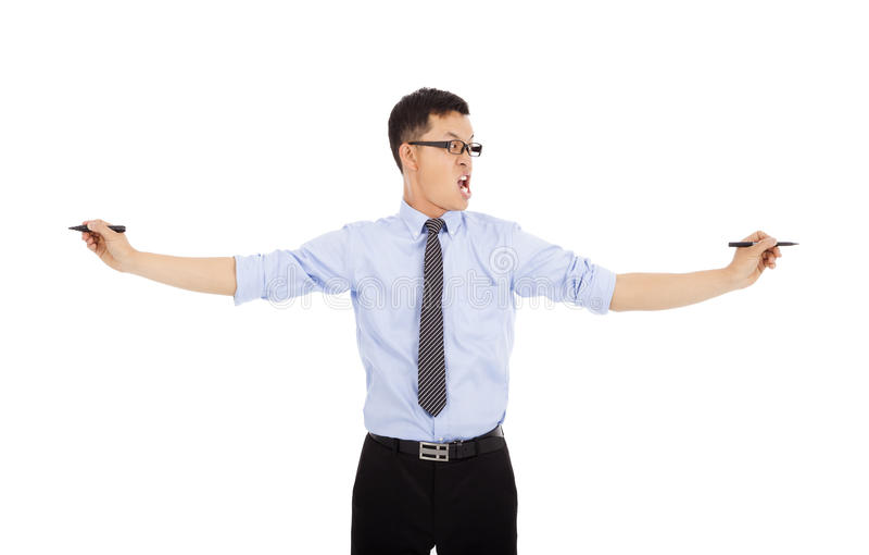Νευρικές μάνδρες εκμετάλλευσης επιχειρηματιών για να εργαστεί Απομονωμένος στο λευκό στοκ εικόνες