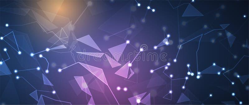 Νευρική έννοια δικτύων Συνδεδεμένα κύτταρα με τις συνδέσεις Υψηλό technol ελεύθερη απεικόνιση δικαιώματος