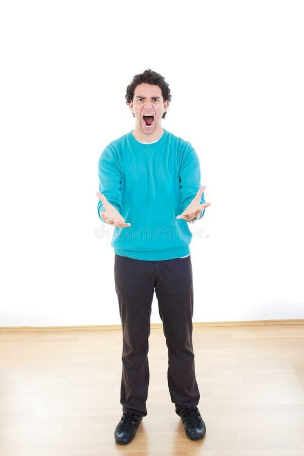Νευρικό άτομο στην πίεση με περιορισμένο να φωνάξει χεριών στοκ φωτογραφία με δικαίωμα ελεύθερης χρήσης