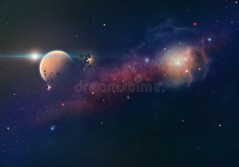 Νεφέλωμα και πλανήτης ελεύθερη απεικόνιση δικαιώματος