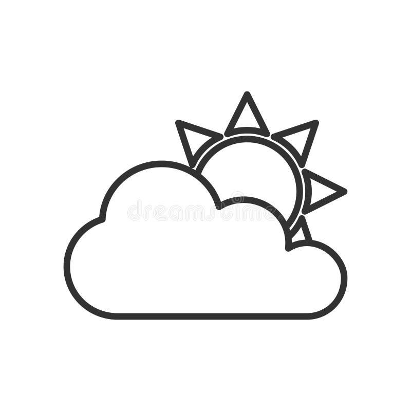 Νεφελώδες επίπεδο εικονίδιο περιλήψεων ουρανού στο λευκό διανυσματική απεικόνιση