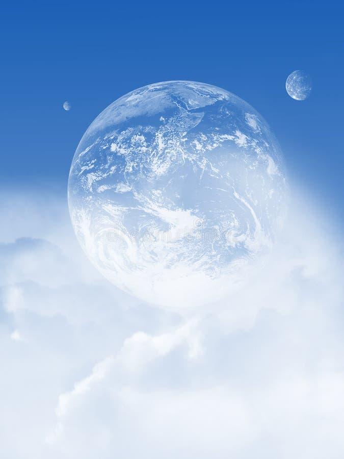 Νεφελώδης ουρανός με τον πλανήτη διανυσματική απεικόνιση