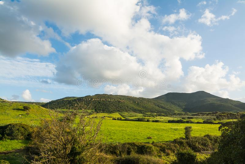 Νεφελώδης ουρανός πέρα από έναν πράσινο λόφο στην άνοιξη στοκ φωτογραφίες με δικαίωμα ελεύθερης χρήσης