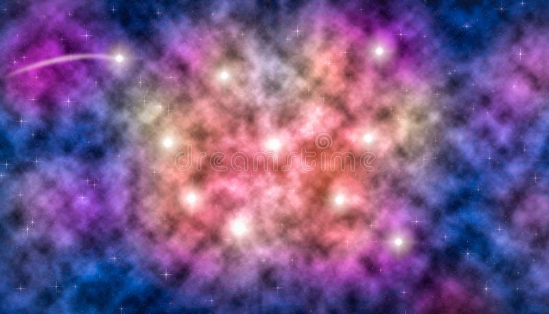 Νεφελώματα και αστέρια στο βαθύ διάστημα διανυσματική απεικόνιση