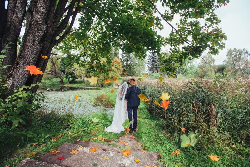Νεόνυμφος και νύφη από κοινού Γαμήλιο ζεύγος στο πάρκο στοκ φωτογραφία με δικαίωμα ελεύθερης χρήσης